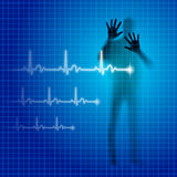 Heartbeat. Shining medical background with human silhouette and cardiogram line Royalty Free Stock Photos