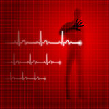 Heartbeat. Shining red medical background with human silhouette and cardiogram line Stock Photo