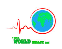 Heartbeat sign with Globe Earth icon. Vector Illustration Stock Image