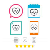 Heartbeat sign icon. Cardiogram symbol. Royalty Free Stock Photo