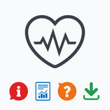 Heartbeat sign icon. Cardiogram symbol Royalty Free Stock Photos