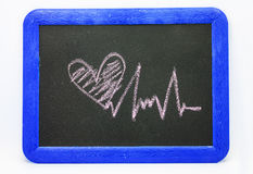Heartbeat sign, love heart on a chalkboard Royalty Free Stock Photography