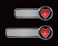 Heartbeat on silver checkered tabs Stock Photography