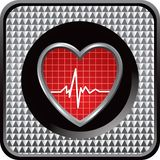 Heartbeat on silver checkered web icon Stock Photo