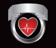 Heartbeat in silver crest Stock Image
