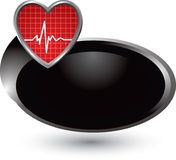 Heartbeat on silver swoosh icon Royalty Free Stock Photo
