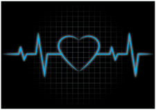 Heartbeats, EKG. Electrocardiograph, an EKG showing heartbeats Stock Photos