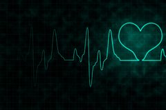 Heartbeats monitor on black background. Heartbeats monitor with glowing effect on grid and dirty black background for healthcare and medical concept Royalty Free Stock Images