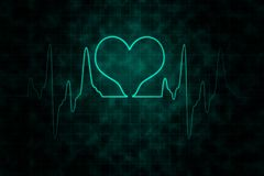 Heartbeats monitor on black background. Heartbeats monitor with glowing effect on grid and dirty black background for healthcare and medical concept Stock Photos