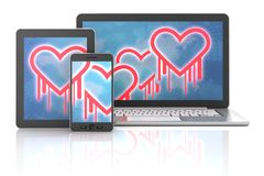 Heartbleed bug symbols on gadgets Stock Image