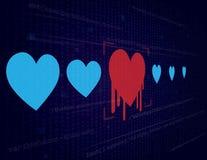 Heartbleed - concetto cyber di incisione e di sicurezza - Fotografia Stock Libera da Diritti