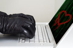 Heartbleed exploit concept. With hands wearing black gloves Royalty Free Stock Photos