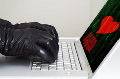Heartbleed exploit concept. With hands wearing black gloves Stock Image