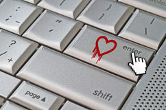 Heartbleed exploit concept with mouse cursor. Heartbleed exploit concept mouse cursor pressing enter key on metallic keyboard Royalty Free Stock Photography