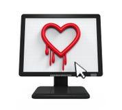 Heartbleed fel i datorskärm stock illustrationer