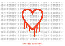 Heartbleed openssl bug vector shape, bleeding heart with wall of Royalty Free Stock Images