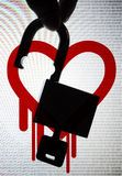 Heartbleed, an OpenSSL critical bug. Silhouette hand picking up the unlock padlock with digital number and heartbleed logo in the back Stock Photography