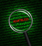 Heartbleed revealed in computer code through a mag Stock Photo