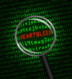 Heartbleed revealed in computer code through a magnifying glass. The word Heartbleed revealed in computer machine code through a magnifying glass Royalty Free Stock Photos