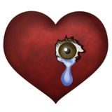 Heartbreak. A red heart with a crying eye peeking through it Royalty Free Stock Image
