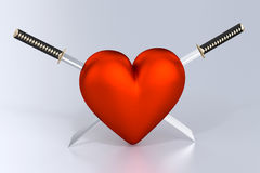 Heartbreak. Heart and Two Crossed Katanas Royalty Free Stock Images