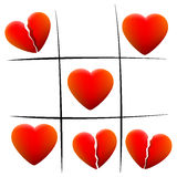 Heartbreak Love Hearts Tic Tac Toe Stock Images