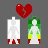 Heartbreak, love level low battery Royalty Free Stock Photo