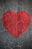 Heartbreak. Shape on crack wall Royalty Free Stock Images