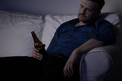 Heartbroken man feeling miserable Stock Image