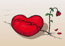 Heartbroken (vector). Heart broken and withered rose stock illustration