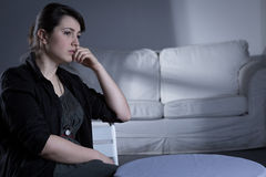 Heartbroken woman after breakup Stock Images