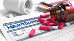 Heartburn - expression dans l'histoire de la maladie actuelle 3d Images stock