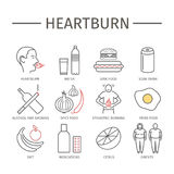 Heartburn. Symptoms, Treatment. Line icons set. Vector signs Stock Photo
