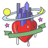 Heartcity. Emblem with a heart and city. Vector illustration Royalty Free Stock Images