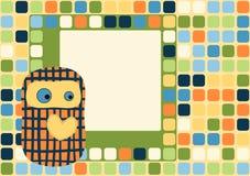 Hearted поздравительная открытка куклы игрушки с квадратами Стоковое Изображение