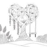 Hearted kształta drzewo dla projekta elementu i kolorystyki książki również zwrócić corel ilustracji wektora ilustracji
