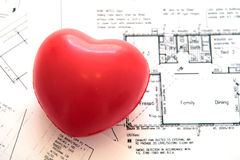 Hearth on blueprints Stock Images