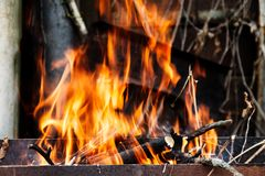 The hearth burn firewood and branches for coal.  stock photography