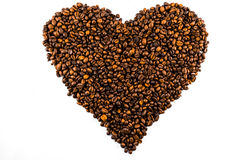 Hearth from coffee beans. On a white background Stock Image