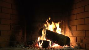 Fireplace 3. The hearth of fire in the fireplace is always full of warmth stock video