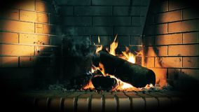 Fireplace 4. The hearth of fire in the fireplace is always full of warmth stock footage