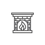 Hearth, Fireplace line icon, outline vector sign, linear pictogr Royalty Free Stock Images