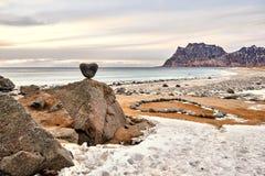 The hearth of Lofoten. Utakleiv beach, a fantastic sandy and rocky beach royalty free stock image