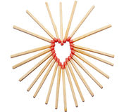 Hearth made of matches. Hearth shape made of fire matches Stock Photo