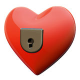 Hearth padlock. Isolated on the white Royalty Free Stock Photography