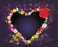 Hearth shape with flowers  illustration Royalty Free Stock Photo