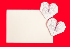 Hearth Shaped Origami postcard Royalty Free Stock Image