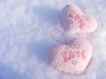 Hearths. Valentine day heart in snow Stock Image