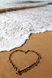 Heartin in beach Royalty Free Stock Photography