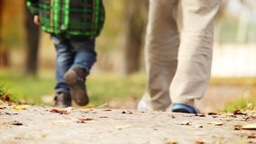 Heartiness words to dear daddy during walk in autumn park Royalty Free Stock Photos